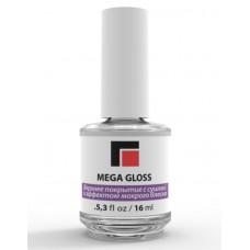Mega Gloss, Верхнее покрытие с сушкой и эффектом мокрого блеска. 16 мл