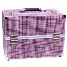 TNL, Кейс Розовый в клетку для мастера ногтевого сервиса или визажиста,  34x21x25
